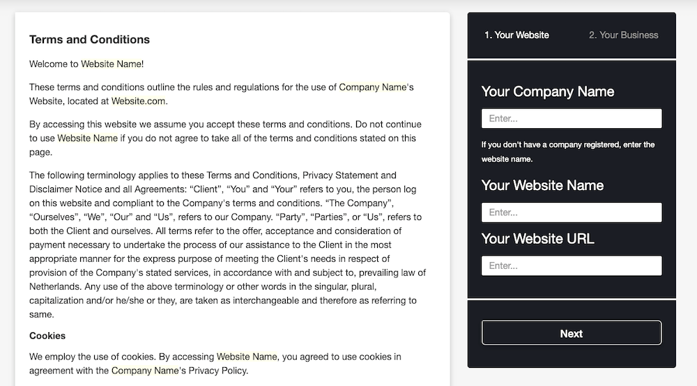 Terms and Conditions Generator