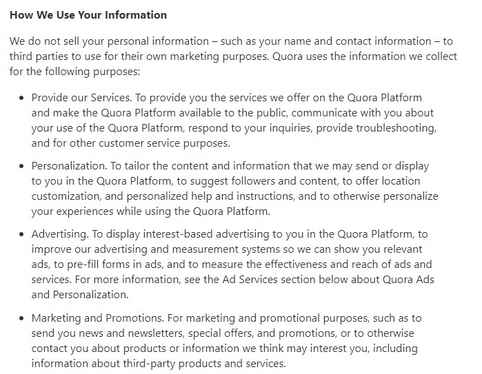 Quora Privacy Policy: How We Use Your Information clause